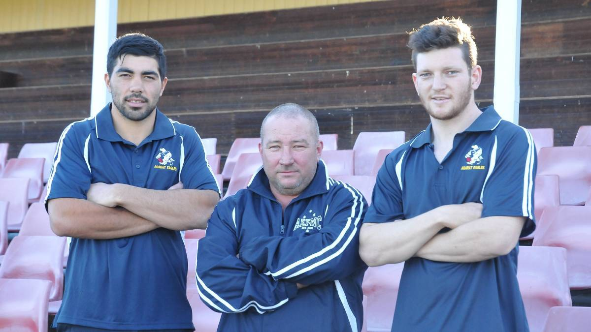 Ararat Eagles' assistant coach Tom Taurau, coach Brett Sladdin and assistant coach Naish McRoberts upon announcing they had resigned for the club in October 2019. Picture: CASSANDRA LANGLEY