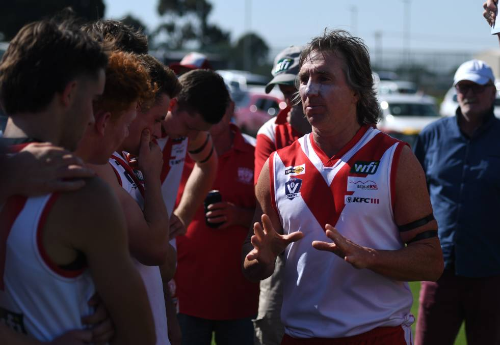 GOOD FRIDAY FOOTBALL: Ararat coach Matthew Walder gives his team instructions during the break. Picture: MATTHEW CURRILL