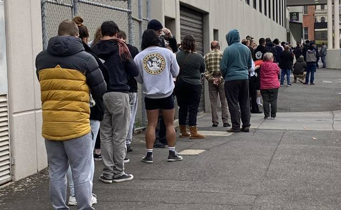 JOBLESS: The queue outside a Centrelink office in the early days of the COVID-19 restrictions. Picture: HAYLEY ELG