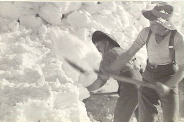 SHOVELLING SNOW IN SYRIA: Members of the 2/3 Battalion clearing snow in 1942.