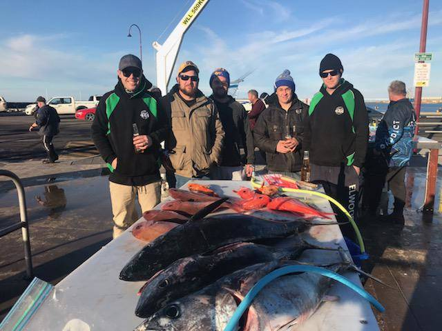 School is out: Five Ararat anglers had a memorable weekend in Portland. From left: Tim Preston, Luke Preston, Jason Marsh, Brad Frattin and Russell Harris. PIcture: SUPPLIED