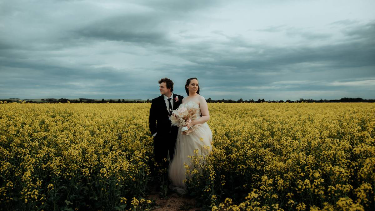 Memorable moment: Aaron and Ash Banks tied the knot on Saturday, in one of the first weddings to take place in Ararat since the COVID-19 restrictions were lifted: Picture: JUSTINE MISSEN