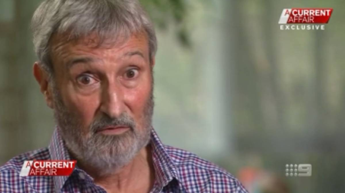 Television personality Don Burke during an A Current Affair interview, in which lawyers for journalist Wendy Dent claim he defamed her. Picture: Nine Network