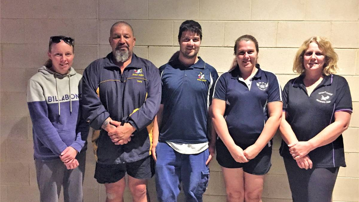UNITED: Ararat Eagles committee members Sarah West, Nats McRoberts, Oakley Taylor, Melissa Hutchins-Jantzen and Riki McRoberts are fighting hard to keep the club together.