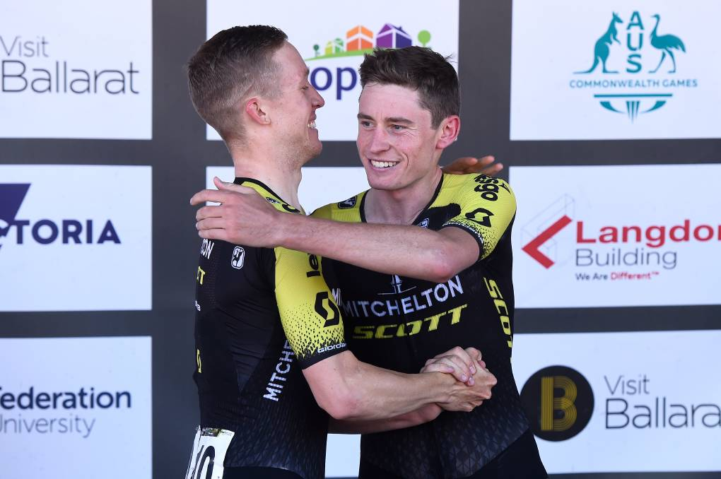 HIGH HOPES: Lucas Hamilton celebrates with teammate Cameron Meyer during the 2020 Road National Championships. Picture: ADAM TRAFFORD/BALLARAT COURIER