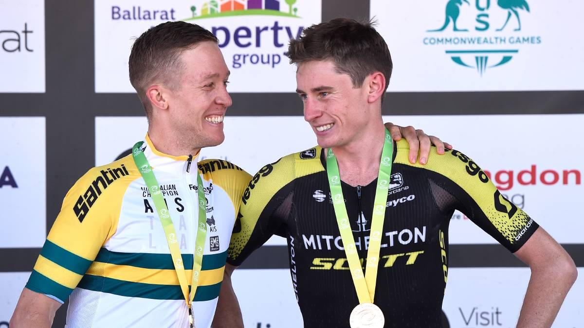 GIRO OVER Lucas Hamilton (right) next to Cameron Meyer after the 2020 Cycling Australia Road National Championships. Picture: ADAM TRAFFORD/BALLARAT COURIER