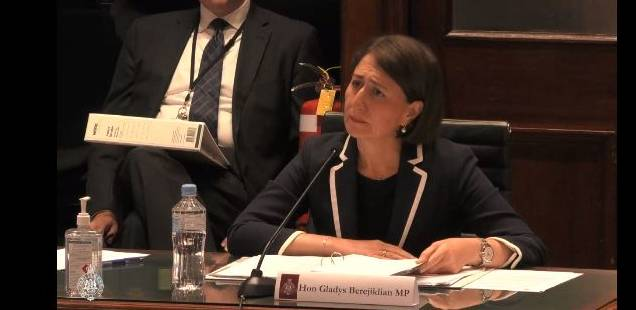 NSW Premier Gladys Berejiklian is questioned about former Wagga MP Daryl Maguire's potential involvement in major road projects at a budget hearing earlier this month. Picture: NSW Parliament