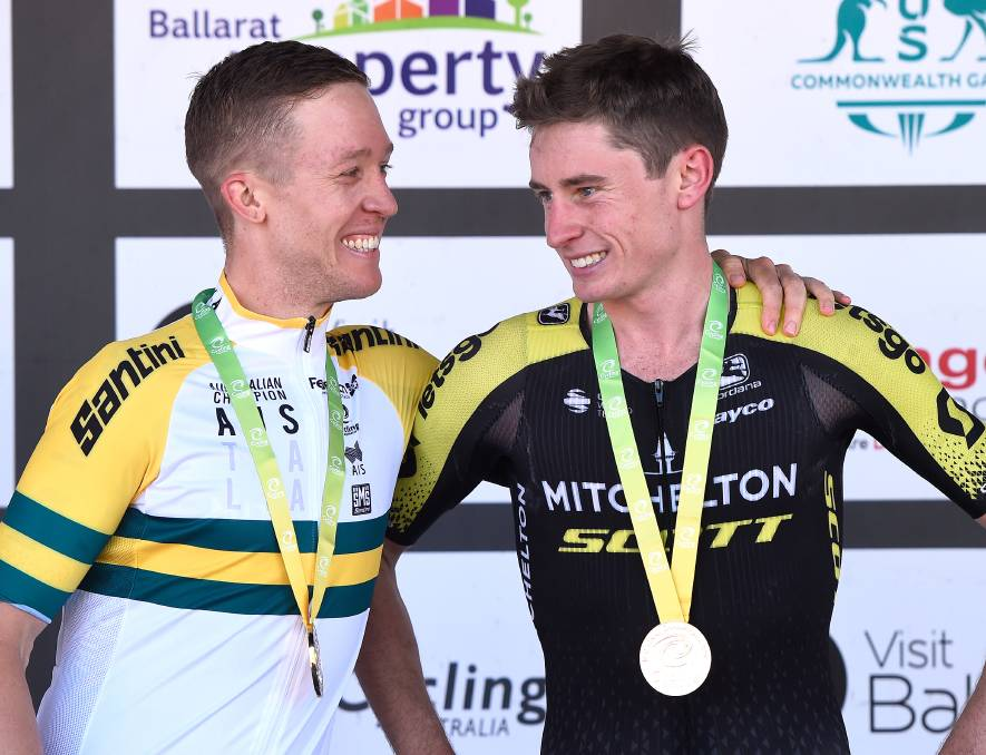 Lucas Hamilton (right) next to Cameron Meyer after the 2020 Cycling Australia Federation University Road National Championships in January, 2020. Picture: ADAM TRAFFORD/BALLARAT COURIER